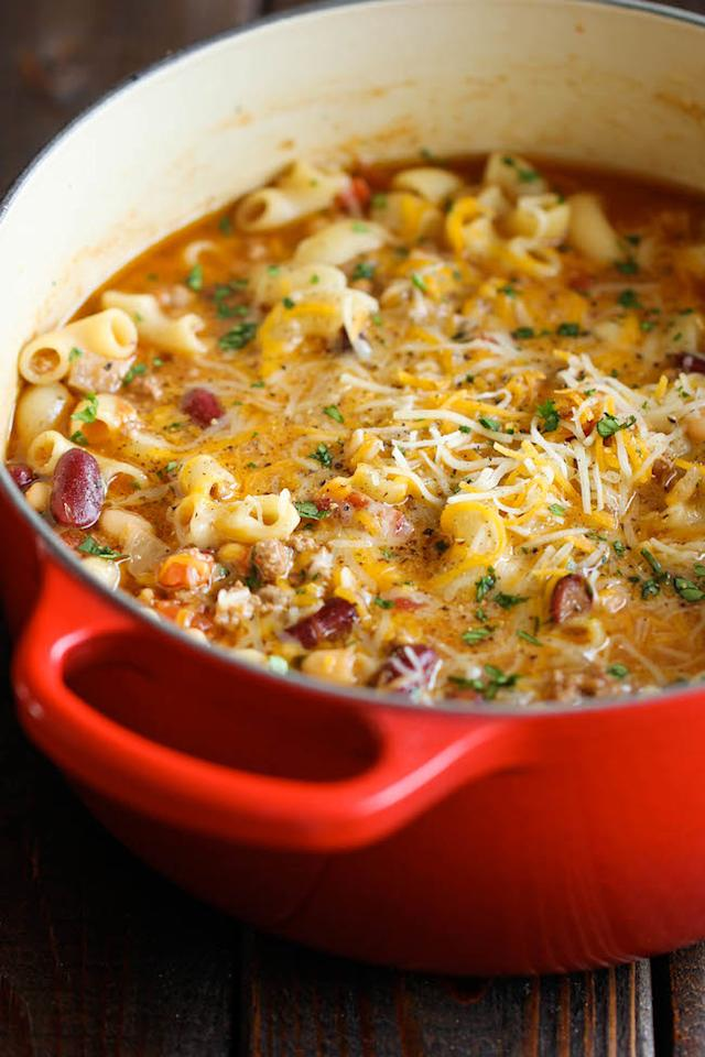 """<p>It's chilli con carne <i>and </i>mac and cheese in - you guessed it - <a href=""""http://damndelicious.net/2014/03/15/one-pot-chili-mac-cheese/"""">one pot</a>. A more beautiful marriage of classic favourites there has never been.</p><p><i>[Photo:damndelicious]</i></p>"""