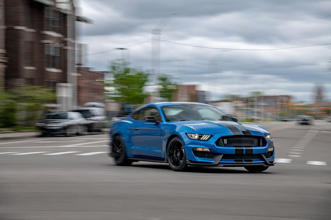 <p>The Shelby's updated grille is from the GT350R. The smaller opening restricts air flow under the hood and reduces front-axle lift by 13 pounds.</p>