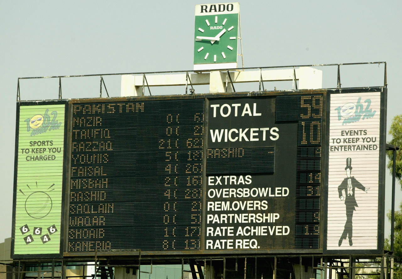 SHARJAH - OCTOBER 11:  The scoreboard shows Pakistan all out for 59 in their first innings during day one of the Second Test match between Pakistan and Australia played at Sharjah International Cricket Stadium in Sharjah, United Arab Emirates on October 11, 2002. (Photo by Hamish Blair/Getty Images)
