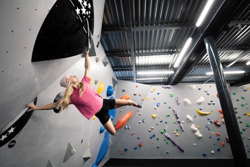 Shauna Coxsey climbs a boulder problem at The Climbing Hangar Matchworks in Liverpool