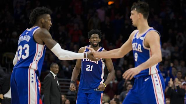 """<p>It's a big Saturday night in the NBA, and we have two key matchups that could dominate much of the ownership on this DFS slate. It's rare to have so many of the night's plays concentrated between just two games, but that is definitely the case here. Let's take a look at the key stacks to build around for cash games. And be sure to use our<a href=""""https://www.lineuplab.com/NBA/DK"""" rel=""""nofollow noopener"""" target=""""_blank"""" data-ylk=""""slk:NBA Lineup Optimizer"""" class=""""link rapid-noclick-resp""""> NBA Lineup Optimizer</a> to round out the rest of your plays.</p><h3>Game Stack Alert No. 1</h3><p><strong>Milwaukee Bucks vs. Philadelphia 76ers</strong></p><p><strong>Khris Middleton (FD: $7,400, DK: $7,900)</strong></p><p><em>Projected Points: FD: 39.29, DK: 40.38</em></p><p><strong>Eric Bledsoe (FD: $7,000, DK: $7,600)</strong></p><p><em>Projected Points: FD: 39.84, DK: 40.4</em></p><p><strong>Tony Snell (FD: $3,700, DK: $3,800)</strong></p><p><em>Projected Points: FD: 17.76, DK: 18.19</em></p><p><strong>Matthew Dellavedova (FD: $3,500, DK: $3,300)</strong></p><p><em>Projected Points: FD: 19.32, DK: 20.55</em></p><p><strong>John Henson (FD: $5,200, DK: $4,600)</strong></p><p><em>Projected Points: FD: 29.08, DK: 27.58</em></p><p>In a gift of very early injury reporting, Giannis Antetokounmpo and Malcolm Brogdon have already been ruled out for Saturday's game against the Bulls. This is one of those situations we wait for in DFS: a superstar (and another auxiliary piece) out for a team, leaving a clear delineation of minutes and opportunity in their wake. Between the two of them, we are left to redistribute about 70 on-court minutes and a healthy dose of usage, rebounds and assists.</p><p>Middleton and Bledsoe are the two clear winners in this situation, and will likely be among the highest-owned players Saturday evening. Giannis is the Bucks' leader in nearly every relevant category (minutes, points, rebounds and assists), and without him these two will be asked to pick up much """