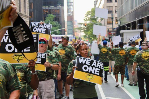 Miners and their supporters marched in Manhattan this week. (Photo: Dave Jamieson for HuffPost)