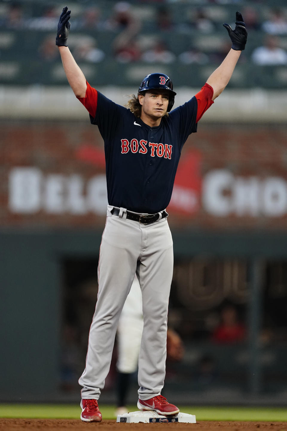 Boston Red Sox starting pitcher Garrett Richards reacts at second base after driving in a run with a double in the fourth inning of a baseball game against the Atlanta Braves Wednesday, June 16, 2021, in Atlanta. (AP Photo/John Bazemore)