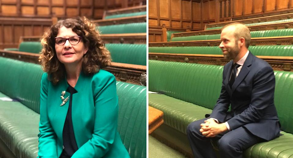 Labour MPs tweeted pictures of themselves sitting in an empty House of Commons to protest against Boris Johnson's suspension of Parliament (Twitter)