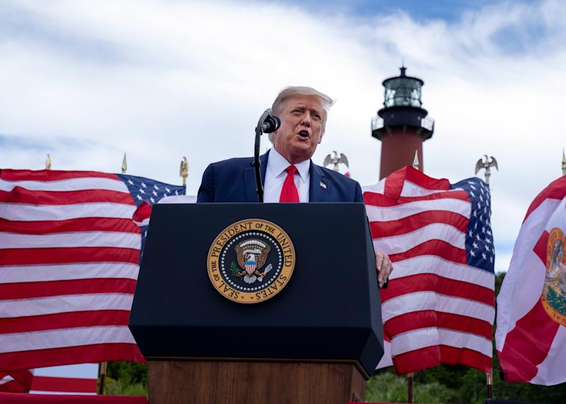 President Donald Trump campaigns in Jupiter, Florida, on Sept. 8, 2020.