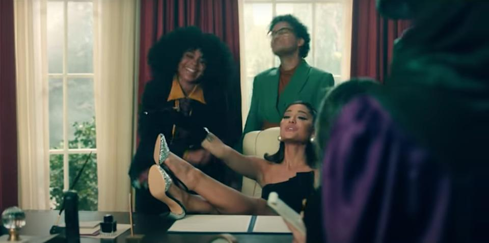 Ariana makes herself at home in the Oval Office (Photo: YouTube)