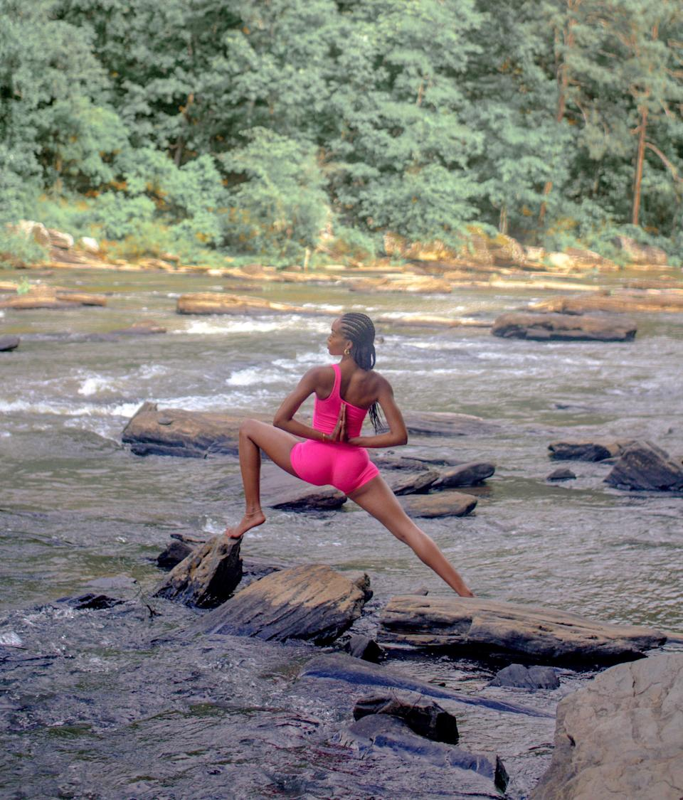 """""""Yoga in nature is an almost daily thing for me, so braids are out of the way and neat for a lot of sweat."""""""