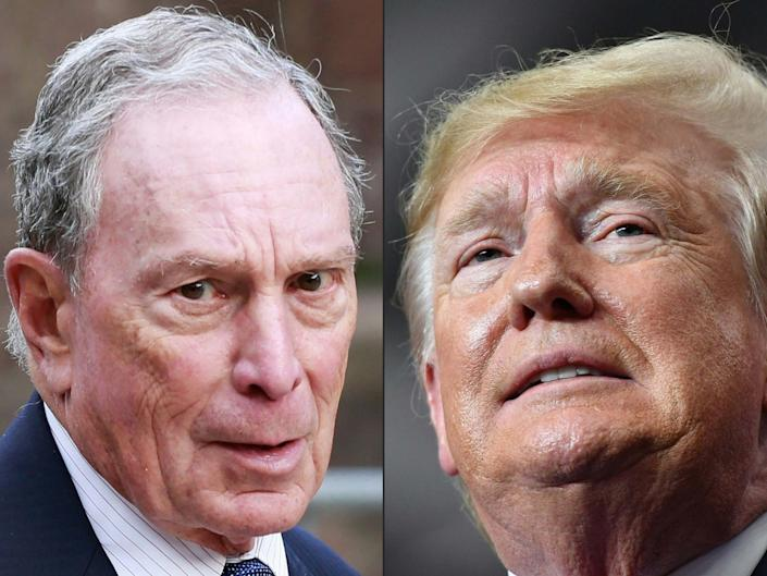A combination image of billionaire Michael Bloomberg and Donald Trump: AFP via Getty Images