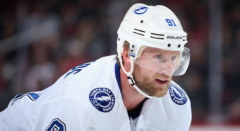 GLENDALE, ARIZONA - FEBRUARY 22: Steven Stamkos #91 of the Tampa Bay Lightning awaits a face off against the Arizona Coyotes during the first period of the NHL game at Gila River Arena on February 22, 2020 in Glendale, Arizona. (Photo by Christian Petersen/Getty Images)