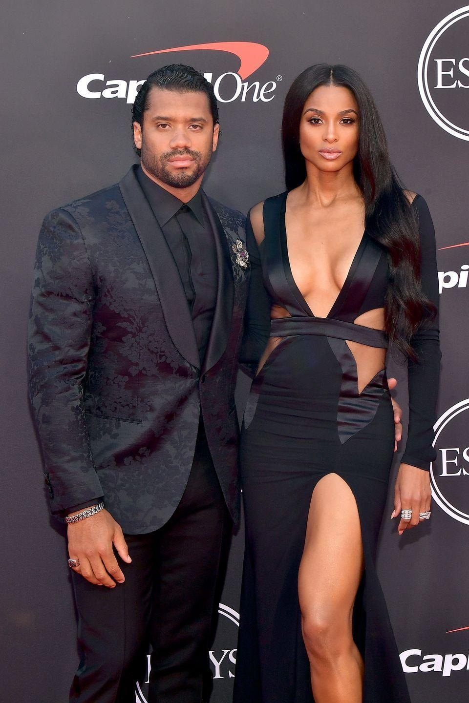 "<p>After both getting out of serious relationships, Ciara and Russell Wilson started dating in April 2015. The singer and the NFL star weren't shy about their relationship, and they even talked about their decision to remain abstinent until marriage. </p><p>""I really believe that when you focus on a friendship, you have the opportunity to build a strong foundation for a relationship,"" Ciara told <em><a href=""https://www.eonline.com/ca/news/822483/ciara-addresses-her-and-russell-wilson-s-decision-to-practice-abstinence-it-s-important-to-have-standards"" rel=""nofollow noopener"" target=""_blank"" data-ylk=""slk:Cosmopolitan South Africa"" class=""link rapid-noclick-resp"">Cosmopolitan South Africa</a></em>. ""You shouldn't feel like you have to give your body away to get someone to like you.""<br><br>The two got married and broke their abstinence in July 2016, then announced their pregnancy just a few months later.</p>"