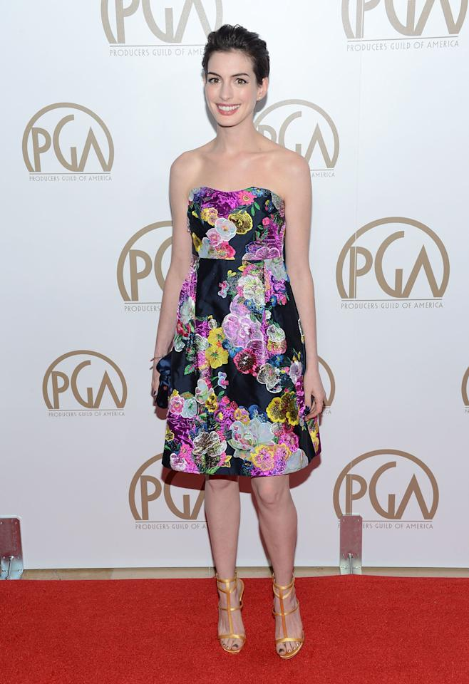 BEVERLY HILLS, CA - JANUARY 26:  Actress Anne Hathaway arrives at the 24th Annual Producers Guild Awards held at The Beverly Hilton Hotel on January 26, 2013 in Beverly Hills, California.  (Photo by Jason Kempin/Getty Images)
