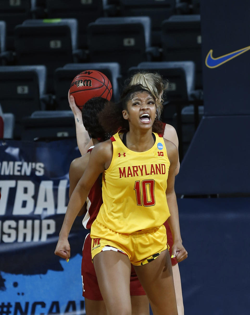 CORRECTS THE DATE TO MARCH 24, NOT MARCH 23 AS ORIGINALLY SENT - Maryland forward Angel Reese (10) reacts after a basket during the first half of a college basketball game against Alabama in the second round of the women's NCAA tournament at the Greehey Arena in San Antonio on Wednesday, March 24, 2021. (AP Photo/Ronald Cortes)