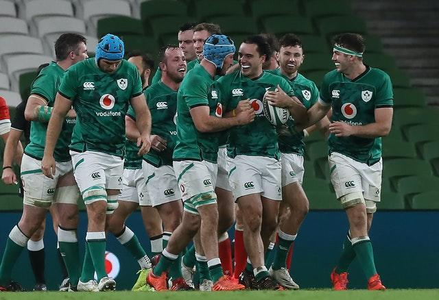 James Lowe, with ball, made a try-scoring debut in Dublin