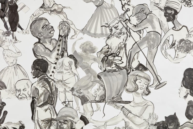 "Kara Walker, ""Christ's Entry into Journalism,"" 2017, Sumi ink and collage on paper, 140 by 196 inches. (Kara Walker courtesy of Sikkema Jenkins Co New York)"