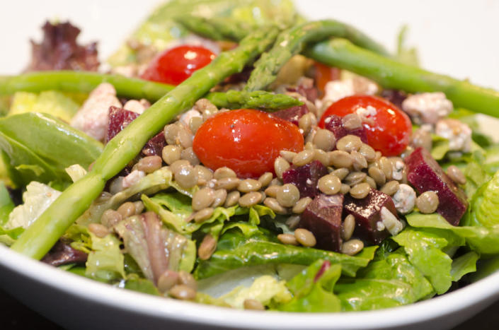 <p>Lentils are super good for you - throw in some asparagus, beetroot and cherry tomatoes and you're onto a winner. Box up the night before and plate up at work. <i>[Photo: Flickr / kurmanphotos]</i></p>