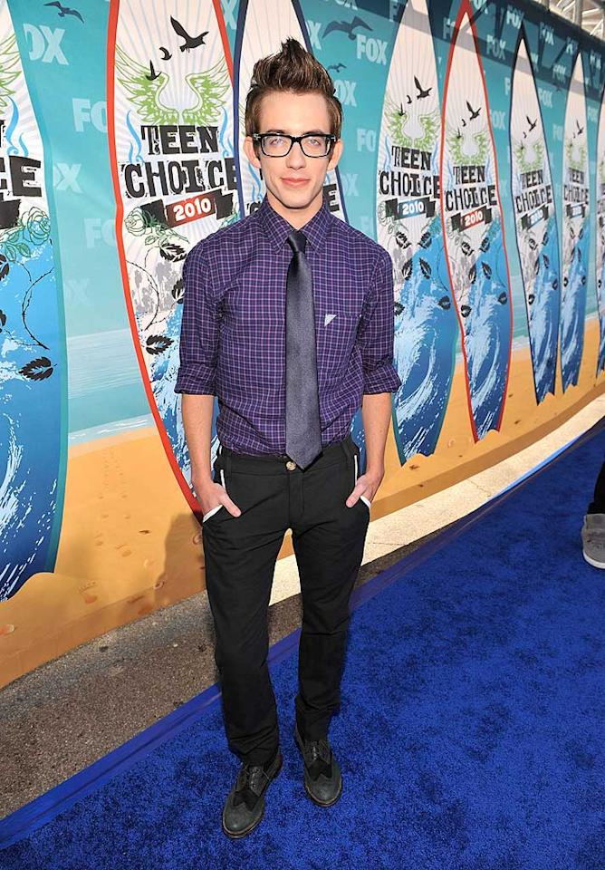 """<b>Kevin McHale (Grade: B-)</b>  The """"Glee"""" guy donned a hipster-meets-office ensemble, which he topped off with a funky 'do. Are you a fan? Kevin Mazur/<a href=""""http://www.wireimage.com"""" target=""""new"""">WireImage.com</a> - August 8, 2010"""
