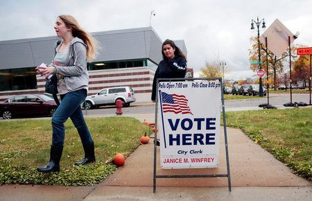 Voters show up to vote at a voting place for the midterm election in Detroit