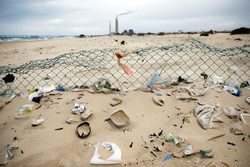 Plastic waste is seen on Zikim beach, on the Mediterranean coast near the southern city of Ashkelon, Israel. (Photo: Amir Cohen/Reuters)