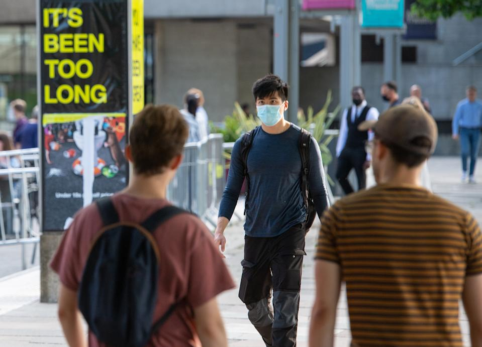 People walk on the South Bank in central London, following the further easing of lockdown restrictions in England. Picture date: Monday June 7, 2021. (Photo by Dominic Lipinski/PA Images via Getty Images)