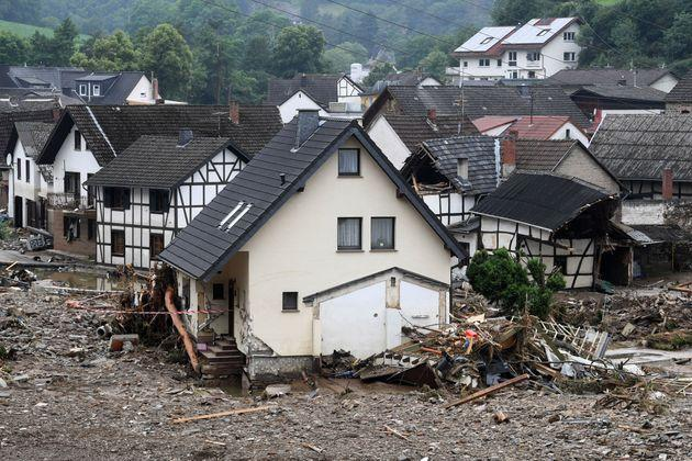 Destroyed houses are seen after floods caused major damage in Schuld near Bad Neuenahr-Ahrweiler, western Germany, on July 16, 2021. - Devastating floods have torn through entire villages and killed at least 129 people in Europe, most of them in western Germany where stunned emergency services were still combing the wreckage on July 16, 2021. (Photo by Christof STACHE / AFP) (Photo by CHRISTOF STACHE/AFP via Getty Images) (Photo: CHRISTOF STACHE via Getty Images)