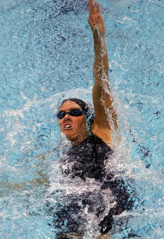 Trischa Zorn in the final of the women's 100m Backstroke during the Athens Paralympics (AFP/ARIS MESSINIS)