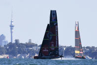 Italy's Luna Rossa, right, sails against Team New Zealand during race 5 of the America's Cup on Auckland's Waitemata Harbour, New Zealand, Saturday, March 13, 2021. (Chris Cameron/Photosport via AP)