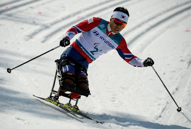 Eui Hyun Sin KOR competes in the Cross-Country Skiing Sitting Men's 1.1km Sprint at the Alpensia Biathlon Centre. The Paralympic Winter Games, PyeongChang, South Korea, Wednesday 14th March 2018. OIS/IOC/Thomas Lovelock/Handout via REUTERS
