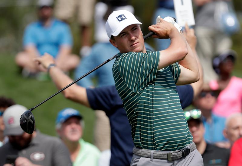Jordan Spieth hits from the 16th tee during a practice round of The Players Championship golf tournament, Wednesday, March 13, 2019, in Ponte Vedra Beach, Fla. (AP Photo/Lynne Sladky)