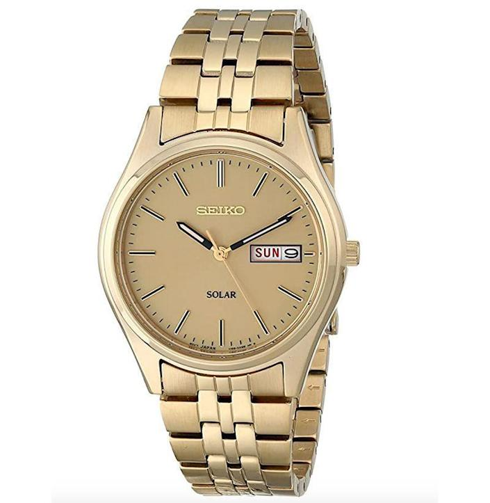 """<p><strong>SEIKO</strong></p><p>amazon.com</p><p><strong>$106.00</strong></p><p><a href=""""https://www.amazon.com/dp/B004400BKG?tag=syn-yahoo-20&ascsubtag=%5Bartid%7C10054.g.35351418%5Bsrc%7Cyahoo-us"""" rel=""""nofollow noopener"""" target=""""_blank"""" data-ylk=""""slk:Shop Now"""" class=""""link rapid-noclick-resp"""">Shop Now</a></p><p>All that glitters is not gold, but it still looks damn good.</p>"""