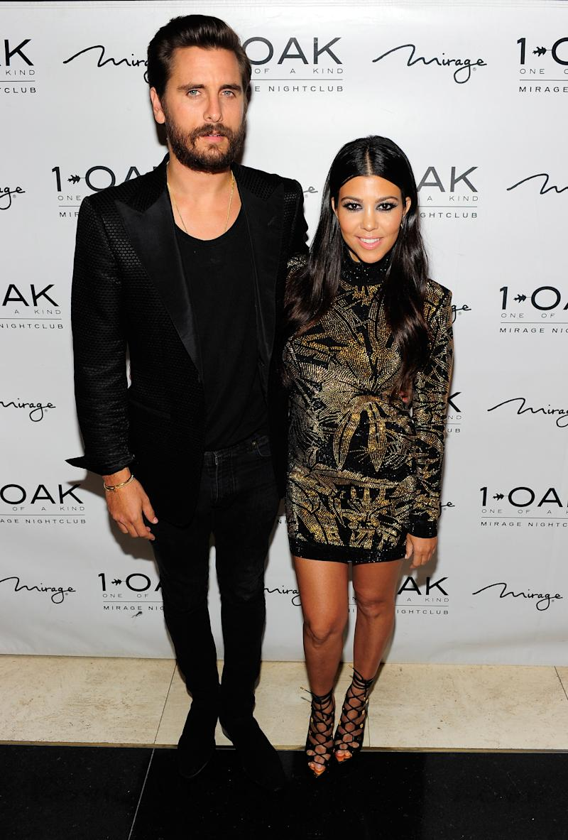 Television personalities Scott Disick (L) and Kourtney Kardashian attend Scott's birthday celebration at 1 OAK Nightclub at The Mirage Hotel & Casino on May 23, 2015 in Las Vegas, Nevada.
