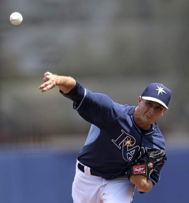 Tampa Bay Rays starting pitcher Jake Odorizzi pitches in the first inning of an exhibition baseball game against the Boston Red Sox in Port Charlotte, Fla., Tuesday, March 25, 2014. (AP Photo/Gerald Herbert)
