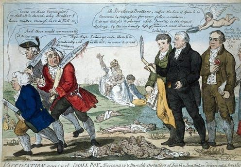 """<span class=""""caption"""">English physician and scientist, who was the pioneer of smallpox vaccine, Edward Jenner sees off the anti-vaccinators.</span> <span class=""""attribution""""><a class=""""link rapid-noclick-resp"""" href=""""https://en.wikipedia.org/wiki/Edward_Jenner#/media/File:Jenner_and_his_two_colleagues_seeing_off_three_anti-vaccinat_Wellcome_V0011075.jpg"""" rel=""""nofollow noopener"""" target=""""_blank"""" data-ylk=""""slk:Wikimedia/Wellcome Collection"""">Wikimedia/Wellcome Collection</a></span>"""