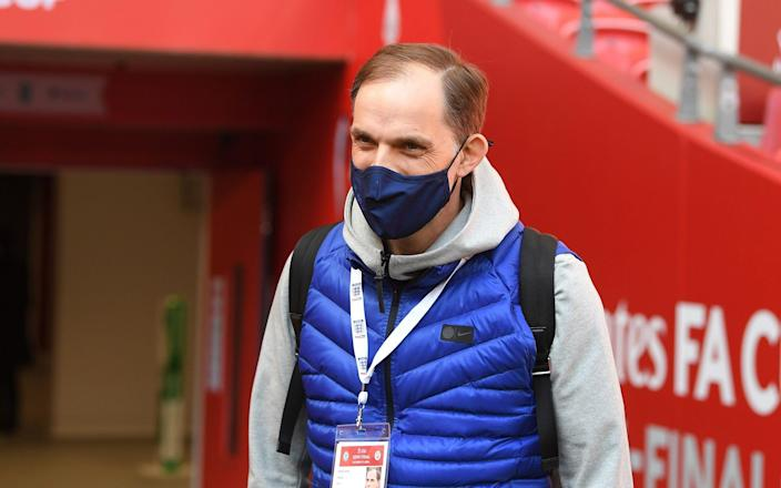 Thomas Tuchel, Manager of Chelsea is seen wearing a facemask prior to during the Semi Final of the Emirates FA Cup match between Manchester City and Chelsea FC - Getty Images