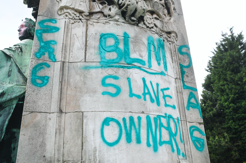 Graffiti saying 'slave owner' was daubed across the statue. (SWNS)