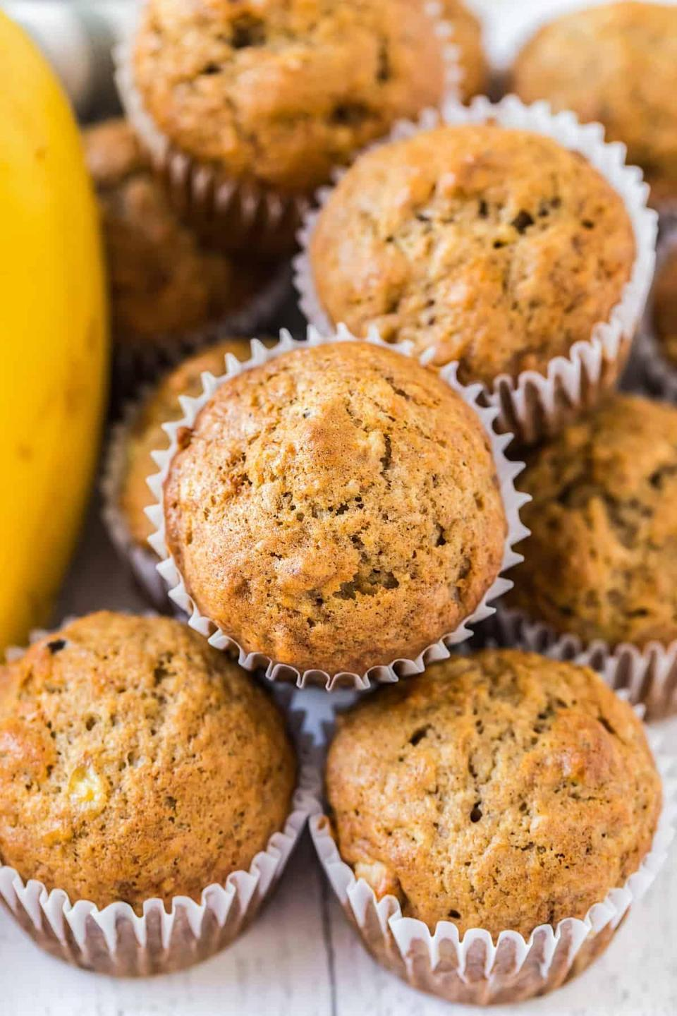 """<p>These might not rank as the healthiest muffins in the world, but they sure are tasty and we pretty much guarantee The Cookie Rookie's <a href=""""https://www.thecookierookie.com/banana-muffins/"""" class=""""link rapid-noclick-resp"""" rel=""""nofollow noopener"""" target=""""_blank"""" data-ylk=""""slk:banana muffins"""">banana muffins</a> will put a smile on your kids' faces on school mornings! </p>"""