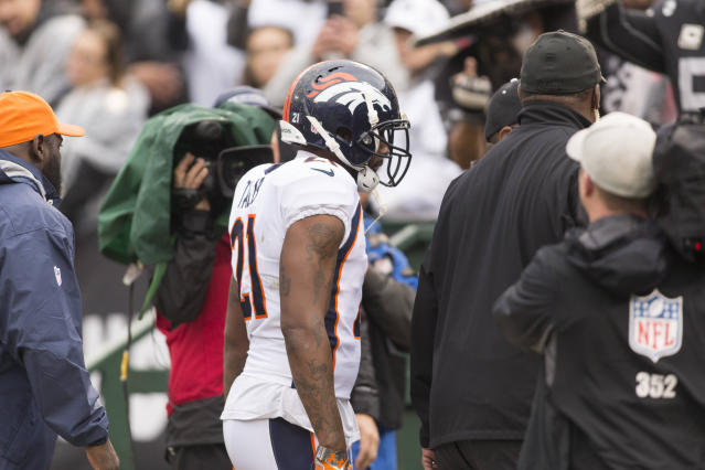 <p>Denver Broncos cornerback Aqib Talib (21) is ejected from the game against the Oakland Raiders during the first quarter at Oakland Coliseum. Mandatory Credit: Neville E. Guard-USA TODAY Sports </p>