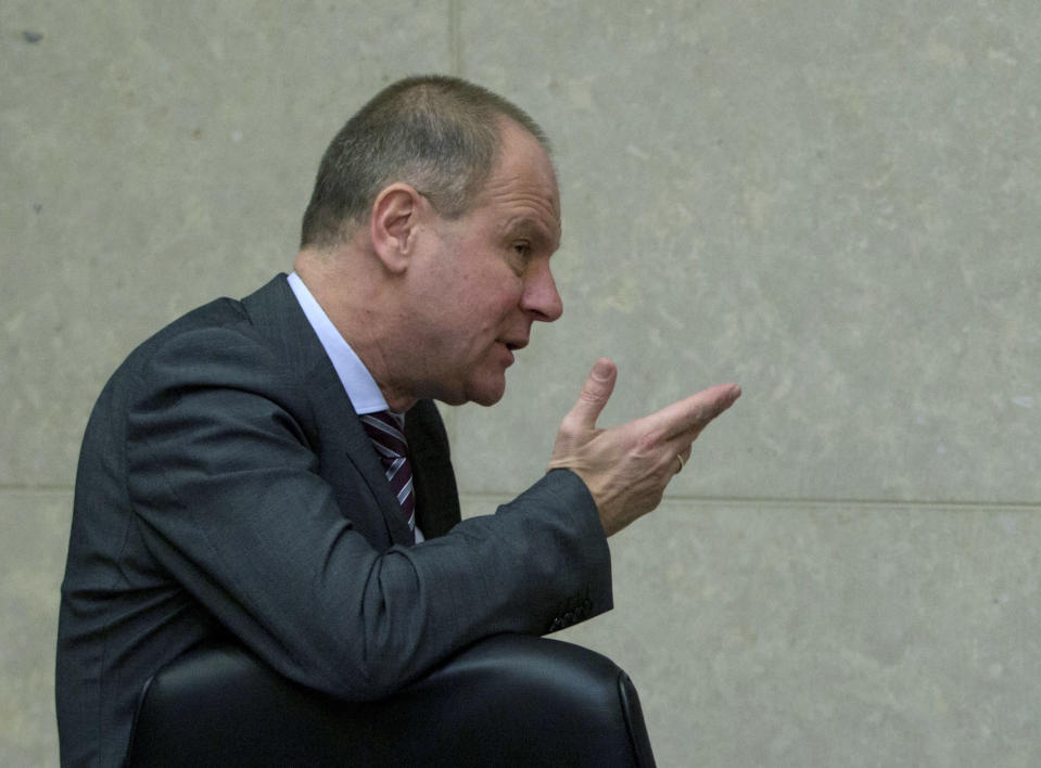 """FILE - In this file photo dated Wednesday, March 7, 2018, European Commissioner Tibor Navracsics, during a meeting of the College of the European Commission at EU headquarters in Brussels. The recent devastating Notre Dame fire in Paris was a warning bell that all of Europe needs to hear since so many monuments and palaces across the continent are in need of better upkeep according to European officials. """"We are so used to our outstanding cultural heritage in Europe that we tend to forget that it needs constant care and attention,"""" Tibor Navracsics, the European Union's top culture official, told The Associated Press. (AP Photo/Virginia Mayo, FILE)"""