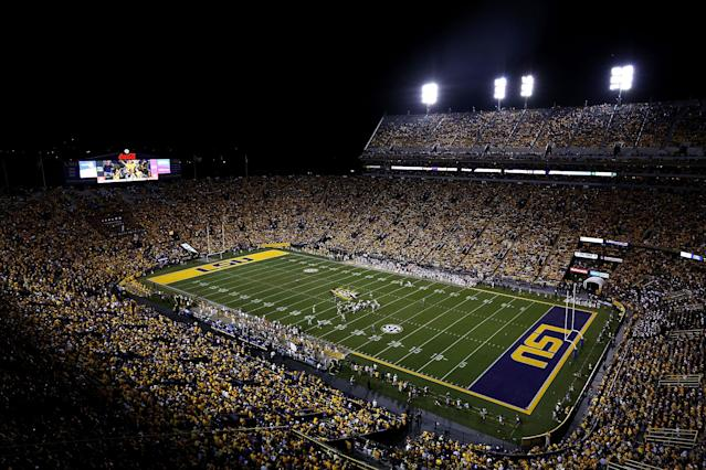 Three LSU students allegedly broke into Tiger Stadium and drove an ATV on the field multiple times, causing thousands of dollars in damage. (Jonathan Bachman/Getty Images)