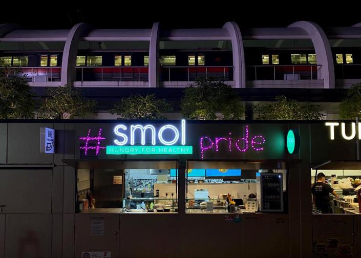 Food vendor Smol's pink decorations in support of Pink Dot 2021, Singapore's annual rally for LGBTQ equality. (Photo: Pink Dot)