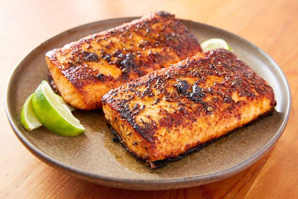 "<p>Blackened fish is a game-changer. The technique involves seasoning the fish, in this case salmon, well and cooking it in a very hot pan with a decent amount of butter. The results are intensely flavoured salmon with a crust like exterior that's dark, but not burnt, and tender flaky salmon that isn't dried out from being over cooked.</p><p>Get the <a href=""https://www.delish.com/uk/cooking/recipes/a35466852/blackened-salmon-recipe/"" rel=""nofollow noopener"" target=""_blank"" data-ylk=""slk:Blackened Salmon"" class=""link rapid-noclick-resp"">Blackened Salmon</a> recipe.</p>"
