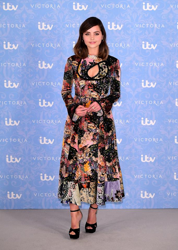<p>The British actress arrived in a beautiful printed Erdem dress paired with sky-high black heels. <i>[Photo: PA]</i> </p>