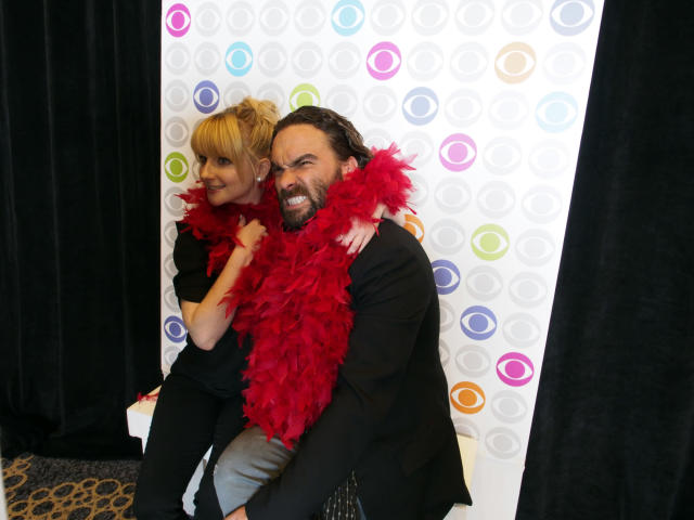 """The Big Bang Theory"" stars Melissa Rauch and Johnny Galecki at the CBSi Junket at Comic-Con 2013, held in San Diego, Ca."