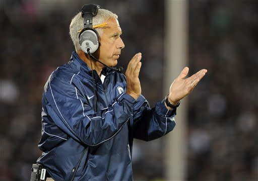 Connecticut head coach Paul Pasqualoni reacts during an NCAA college football game against Massachusetts in East Hartford, Conn., Thursday, Aug. 30, 2012. (AP Photo/Jessica Hill)