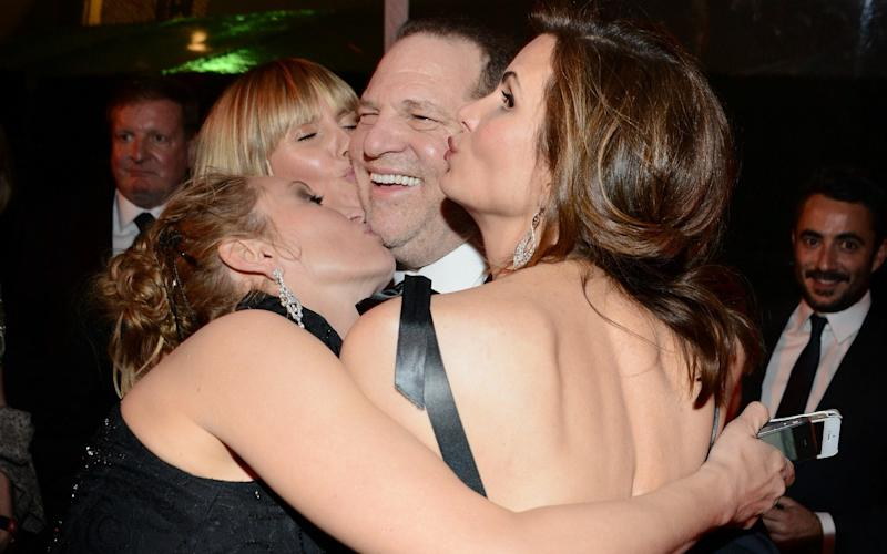 Harvey Weinstein and TV personality Heidi Klum (back, L) and actress Uma Thurman (front, L) attend The Weinstein Company & Netflix's 2014 Golden Globes After Party - Getty Images North America