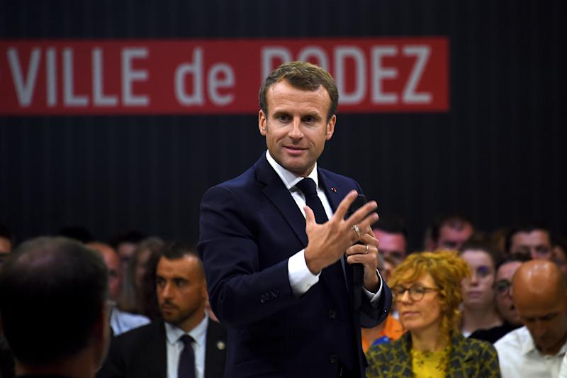 France's President Emmanuel Macron attends a debate on the theme of pensions during a visit to Rodez, France October 3, 2019. Eric Cabanis/Pool via REUTERS