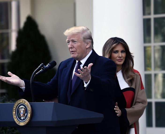 President Trump arrives for the annual turkey pardoning ceremony at the White House in Washington, D.C., on Nov. 20, 2018 as first lady Melania Trump looks on. (Photo: Brendan Smialowski/AFP/Getty Images)
