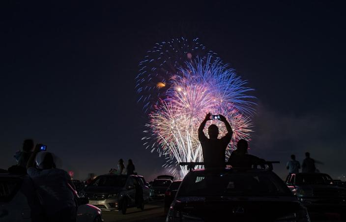 Fireworks during the Drive-Up 4th of July Spectacular at the Los Alamitos Joint Forces Training Base.