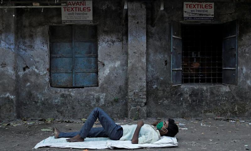 A migrant textile worker Bhiwandi on the outskirts of Mumbai after the factory was shut in the 21-day lockdown.