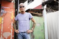 <p>Bourdain films an episode of <em>Parts Unknown</em> in Port of Spain, Trinidad on January 4, 2017. </p>