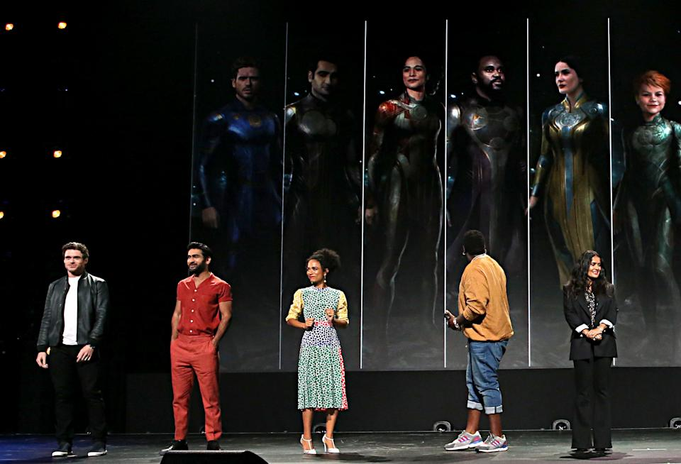 ANAHEIM, CALIFORNIA - AUGUST 24: (L-R) Richard Madden, Kumail Nanjiani, Lauren Ridloff, Brian Tyree Henry, and Salma Hayek of 'The Eternals' took part today in the Walt Disney Studios presentation at Disney's D23 EXPO 2019 in Anaheim, Calif.  'The Eternals' will be released in U.S. theaters on November 6, 2020. (Photo by Jesse Grant/Getty Images for Disney)
